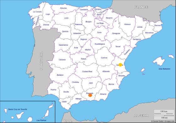 Mapa geoestratégico de Sigma Biotech España a día 15 de Septiembre de 2016.